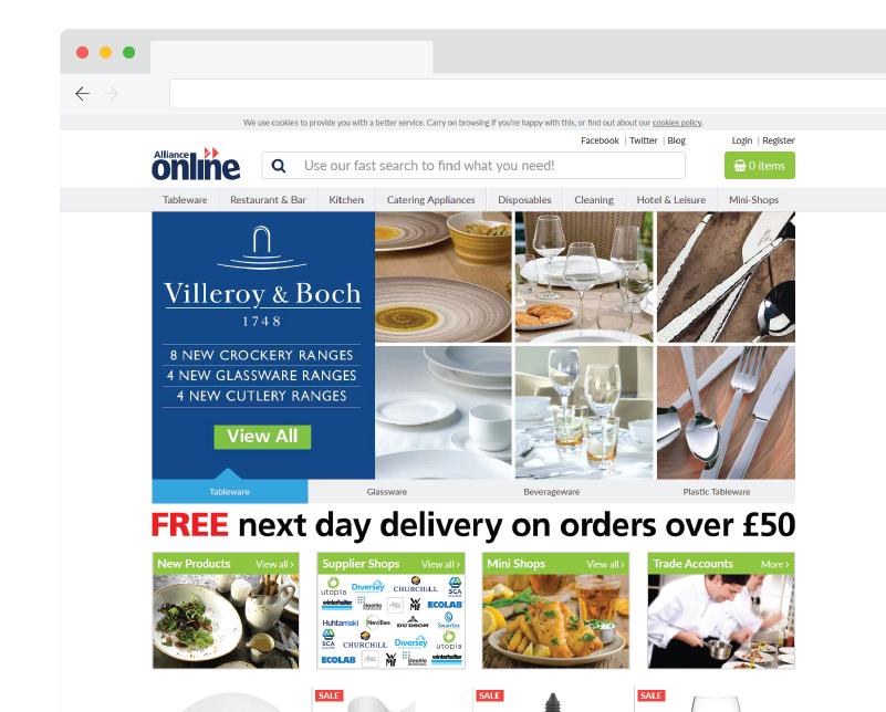 Alliance Online website hompepage screenshot,