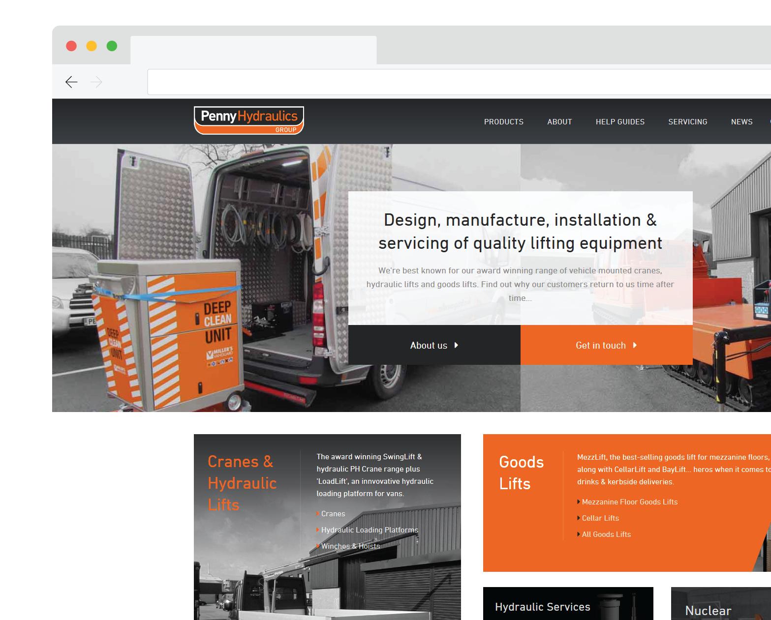 Penny Hydraulics website homepage screenshot