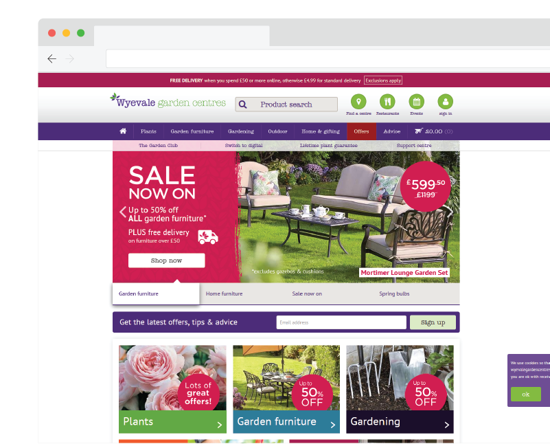 Wyevale Garden Centre website screenshot