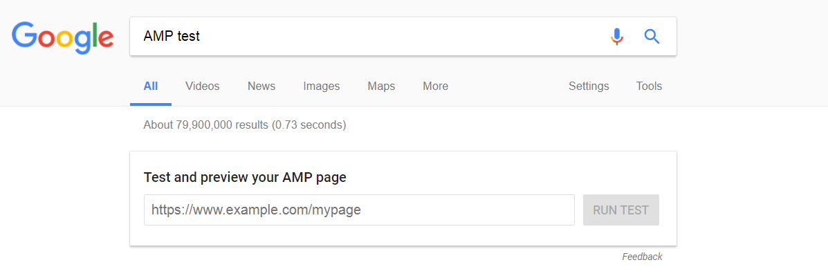 Google AMP test example