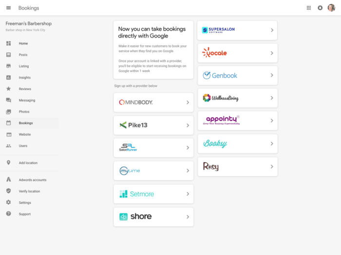 Google booking providers