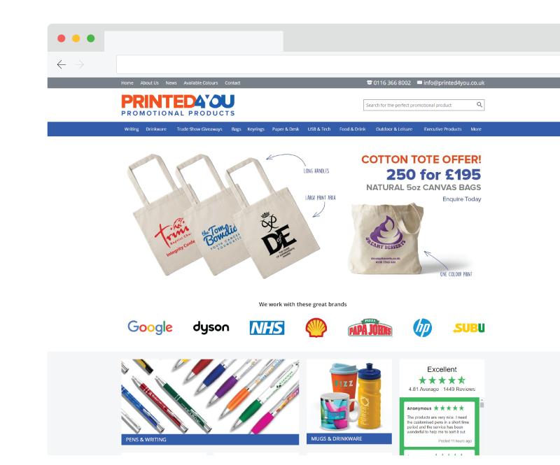 Printed4you homepage, website screenshot