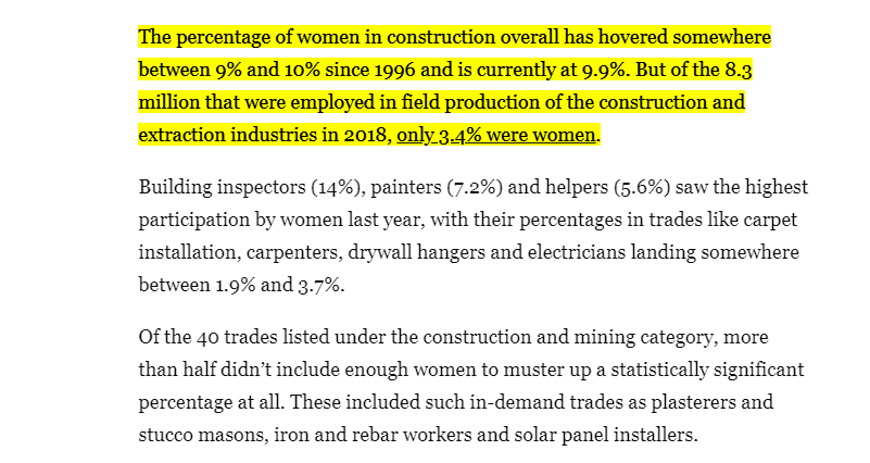 Highlighted percentage of women in construction