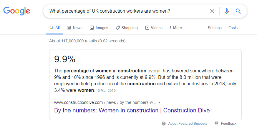 Featured snippet: percentage of construction workers who are women