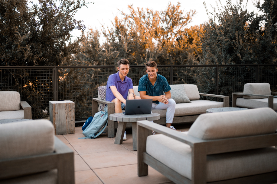 Two man chatting outdoors