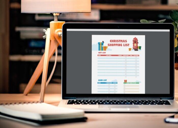 Glass Digital Christmas shopping list on laptop screen