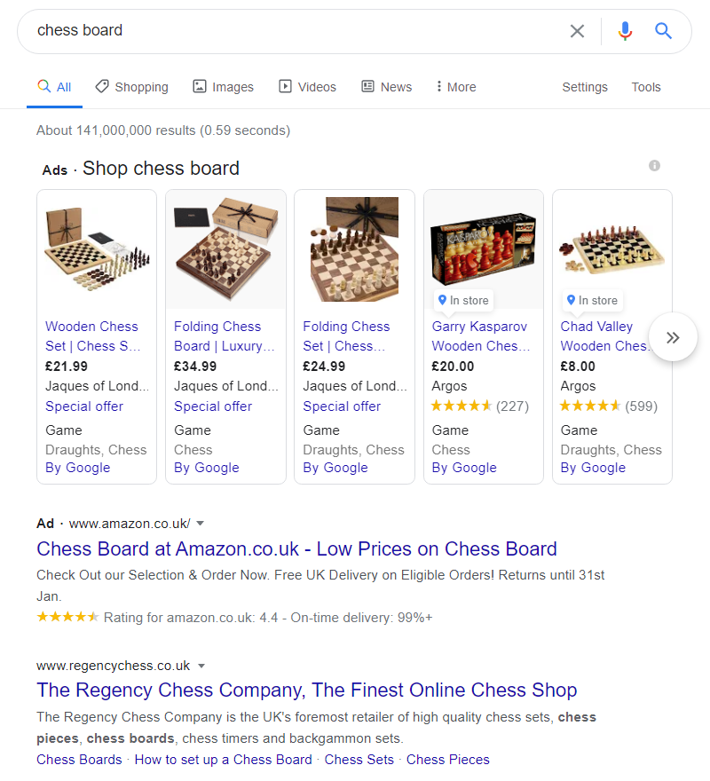 Google - ads on search results page for 'chess board'