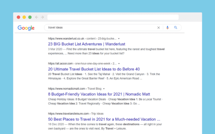 Google results for 'travel ideas'