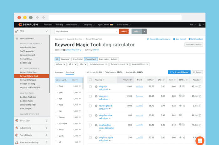 SEMrush keyword research results for 'dog calculator'