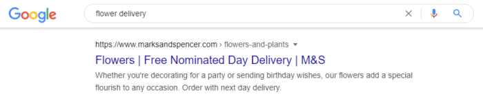Google result for M&S nominated-day flower delivery