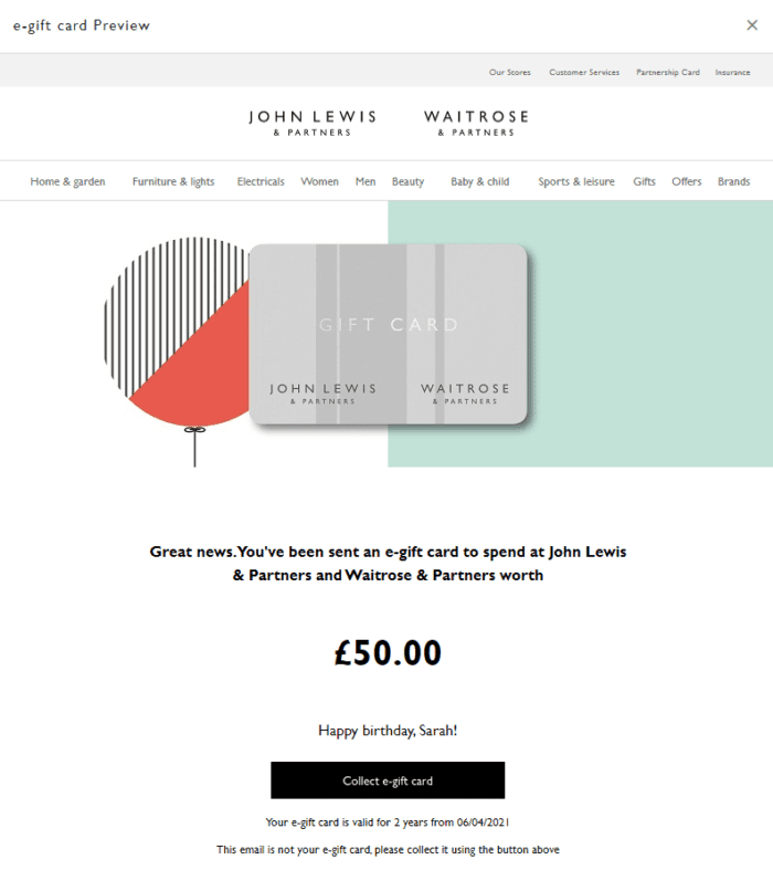John Lewis e-gift card preview